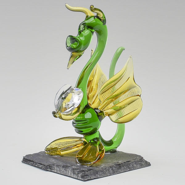Baby Dragon Yellow and Green with Crystal Heart