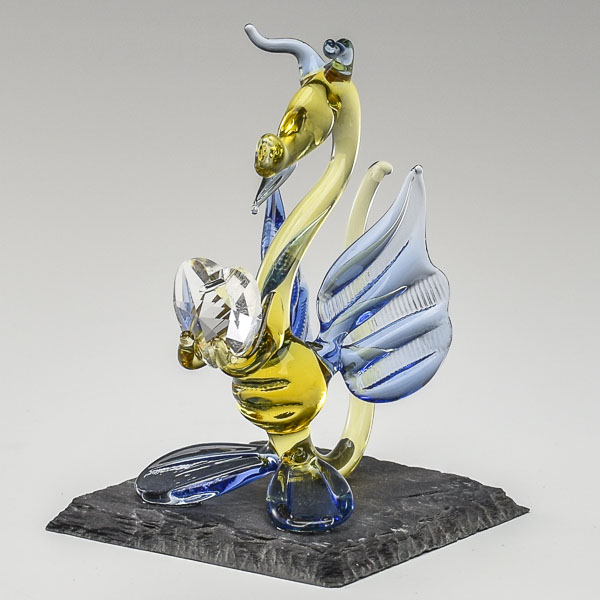 Baby Dragon Yellow and Blue with Crystal Heart