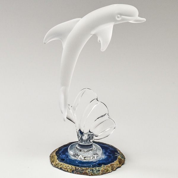 Single Dolphin in Frosted White Glass on an Agate Base