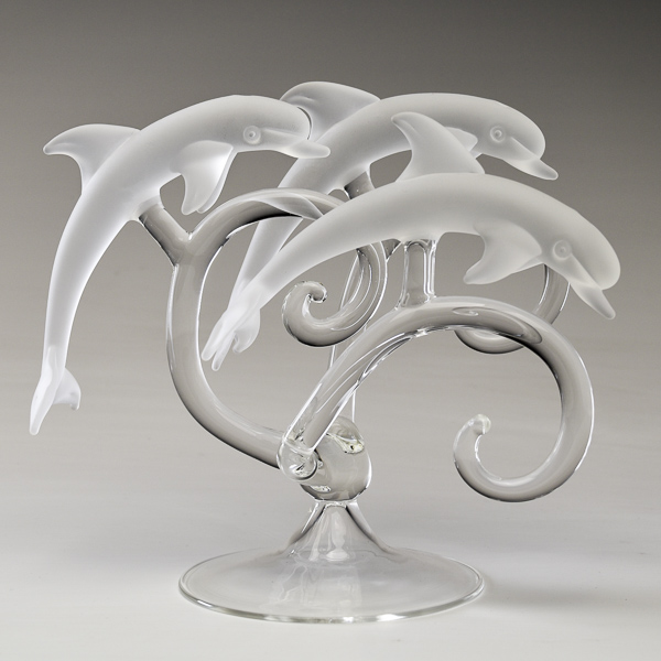 Trio of Dolphins in Frosted White Glass Small