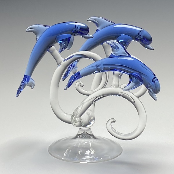 Trio of Dolphins in Blue Glass Medium