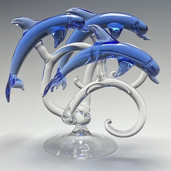 Trio of Dolphins in Blue Glass Large