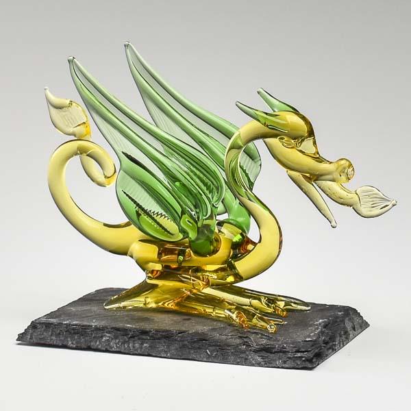 Fantasy Dragon Yellow and Green on Slate Small