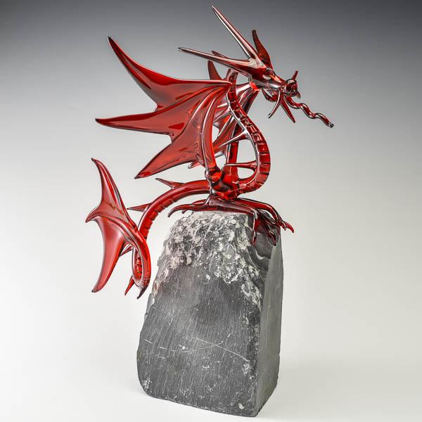 Fantasy Dragon, Red on Slate Large