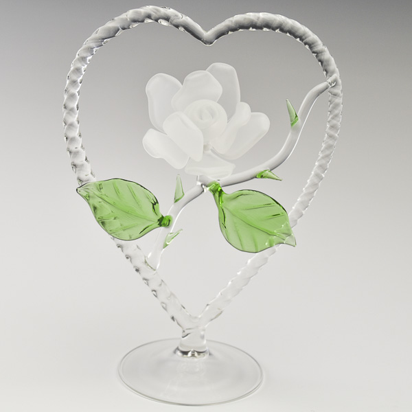 Rose Heart White Frosted