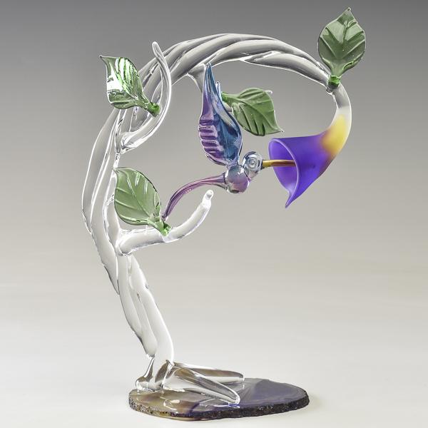 Hummingbird on Violet Agate